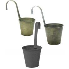 Retro Galvanised Zinc Metal Tin Hanging Fence Railing Planter Flower Pot Hanger