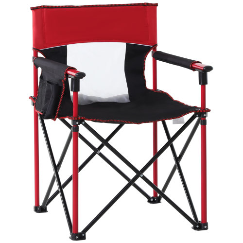 Outsunny Oxford Metal Folding Camping Chair Portable Fishing w/ Cup Holder,