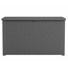 Keter Outdoor Storage Box Java 870L Anthracite Rattan Look Home Trunk Chest