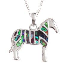 Abalone Shell Zebra Necklace