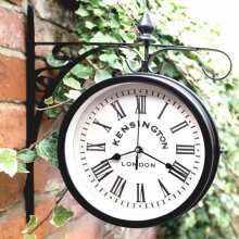 Outdoor Hanging Station Clock Sophistication To Your Garden Wall Suitable For Indoor and Outdoor Use. - Black