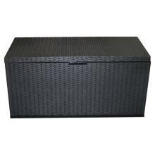 350L Garden Storage Box   Black Plastic Storage Crate with Hinged Lids
