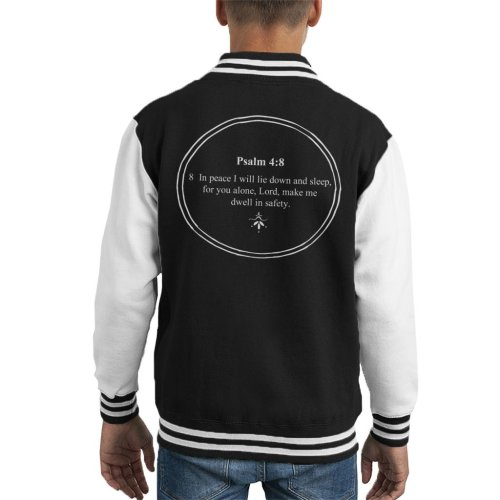 Religious Quotes Dwell In Safety Psalm 4 8 Kid's Varsity Jacket