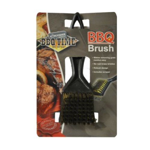 BBQ Grill Brass Bristle Cleaner Brush with Metal Scraper Tool
