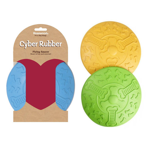 Rosewood Cyber Rubber Flying Saucer Dog Toy