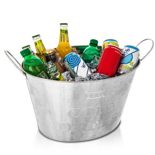 Livivo 24L GALVANISED Steel Oval Party TUB Beverage Drink TUB Beer Bucket