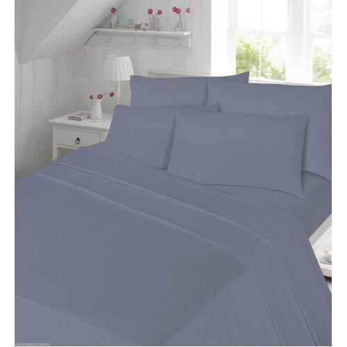 (Grey, Super King ) Flannelette Thermal Soft Brushed Cotton Flat Sheet