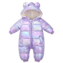 Baby Winter Rompers Cartoon Hooded Shiny Waterproof Newborn Girls Snowsuit Toddler Boys Coat clothes
