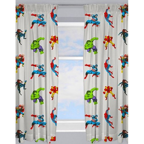 """(66""""x 54"""") Marvel Comics Grey Ready Made and to Hang Curtains"""