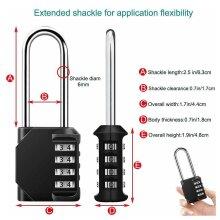 Black Security Padlock Long Shackle Heavy Duty 4Digit Combination Lock