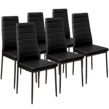 6 dining chairs synthetic leather black