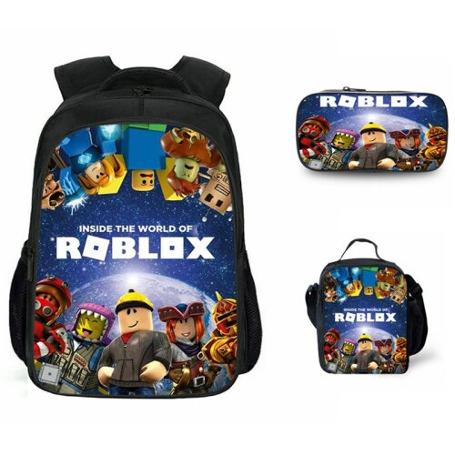 (Dark Blue) 3pcs Roblox Schoolbag Lunch Bag Pencil Case Set