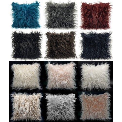 """Cushion or Cover long Shaggy faux fur cushions 21x21"""" or 17x17"""""""