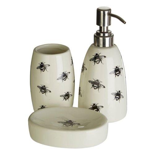 Bee Soap Dish, Tumbler & Dispenser   3pc Bathroom Accessory Set