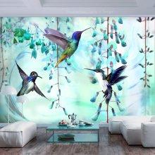 Wallpaper - Flying Hummingbirds (Green)