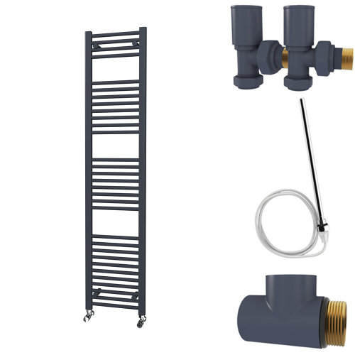 HB Essentials Zena Anthracite Straight Ladder Heated Towel Rail 1800mm x 400mm Dual Fuel - Non-Thermostatic