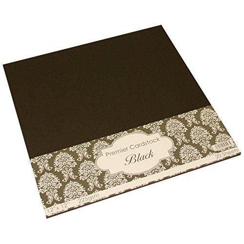 Craft UK 2020 12 x 12-inch 225gsm Premier Card - Black (Pack of 20 Sheets)