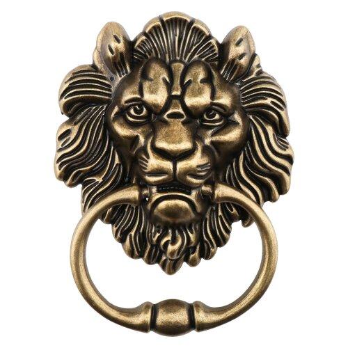 15.8cm Lion Head Door Knocker Polished Bronze Antique Design for Front Door