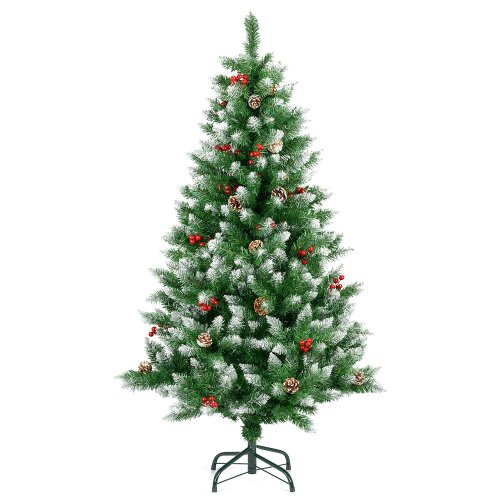(5ft) Artificial Christmas Tree Snow Frosted With Cones Berries 5ft 6ft 7ft Christow
