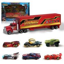 7PCS The Avengers Marvel Heroes Truck &Car Model Vehicle Kids Toy Gift