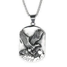 Vintage Spiritual Eagle Army Tag Pendant Necklace
