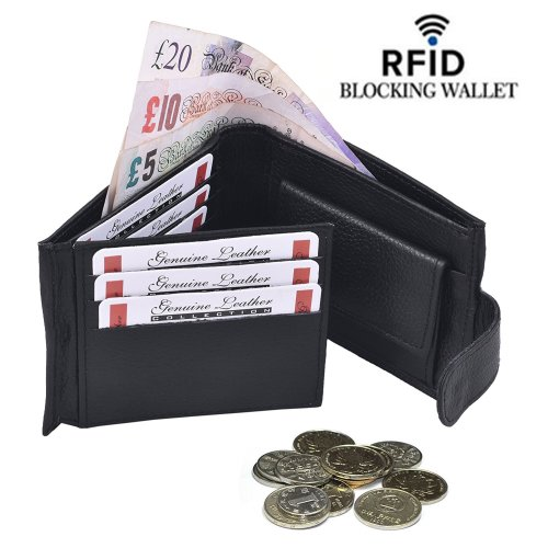 (Black) Leather Wallets for Men With RFID Card Protector