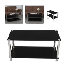 Coffee Table Glass Top With Storage Chrome Black Modern Living Room