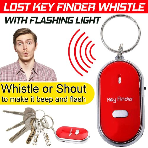 Whistle Lost Key Finder LED Light Locator Keys Ring Remote Control