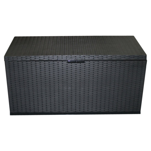 350L Garden Storage Box | Black Plastic Storage Crate with Hinged Lids