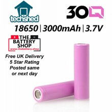 2 x REPLACEMENT 30Q 18650 3000mAh 30A HIGH DRAIN RECHARGEABLE BATTERY