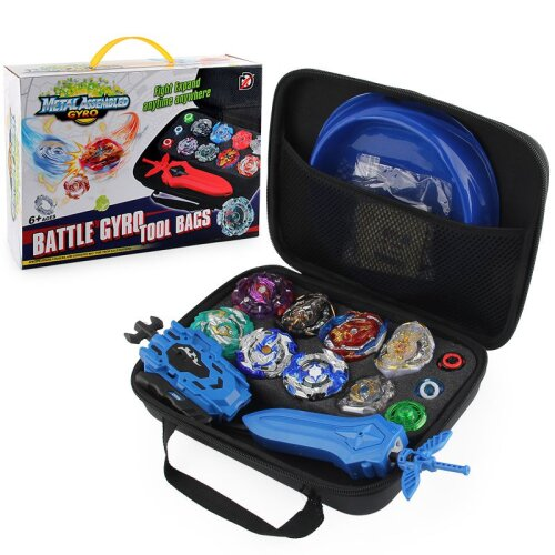 New 8pc Beyblade Burst Set With Launcher + Bag