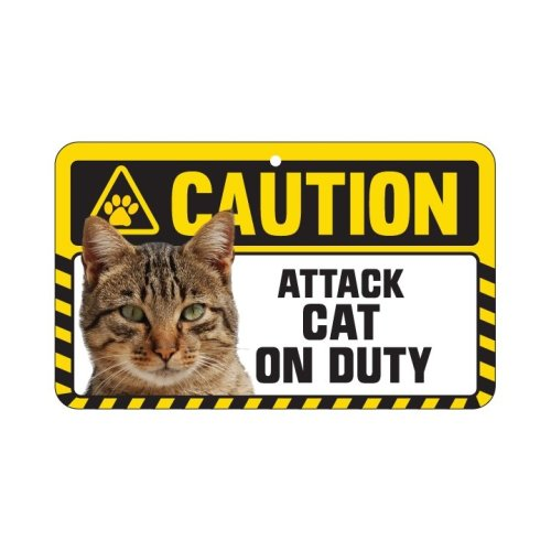 Tabby Cat Caution Sign