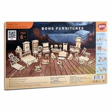 BOHS 34PCS Dollhouse Furnitures Craft Kit -Wooden DIY 3D Puzzle - Scale Miniature Models Doll House Accessories - Ages 6 and Up