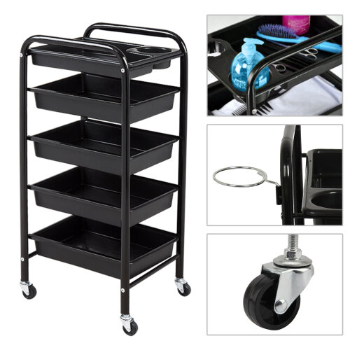 5 Tiers Salon Trolley Drawers Colouring CarHairdresser Barber Beauty