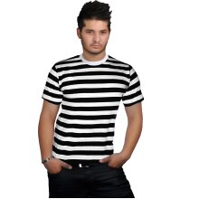 Men Women Black White Stripe T-Shirt Robber Fancy Dress Top