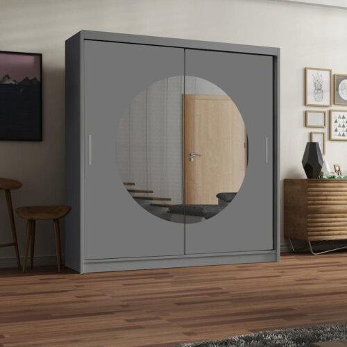 (Grey, 150CM) Moon Modern Sliding Doors Wardrobe 3 Colors 2 Size