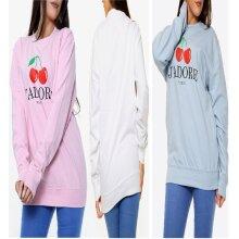 Womens J'adore Cherry Print Oversized Sweatshirt Ladies Sweater Jumper Top UK