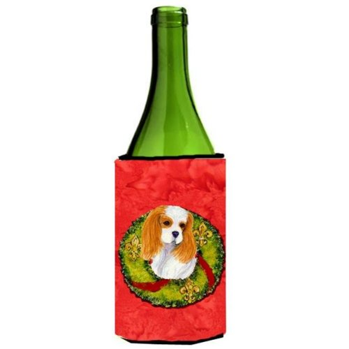 Cavalier Spaniel Cristmas Wreath Wine bottle sleeve Hugger