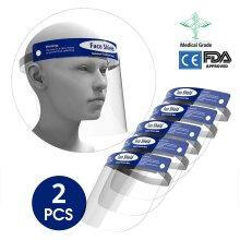 2PCS Disposable Safety Face Shield Transparent Anti Splash Adjustable