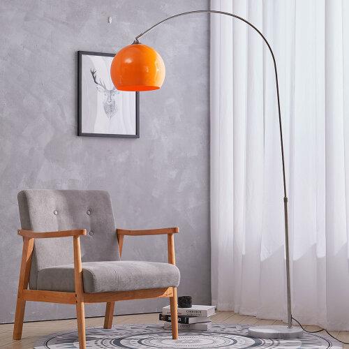 (Orange, 130-180cm) Arched Floor Lamp Marble Base Metal Finish Curved Floor Light Reading Light