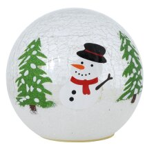 "6"" Christmas Crackle Glass Ball Light Up Globe Decoration LED Ornament - Snowman"