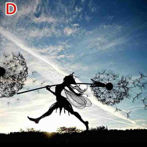 (Dandelion D) Dancing Fairy Dandelion Statue Ornament Stakes