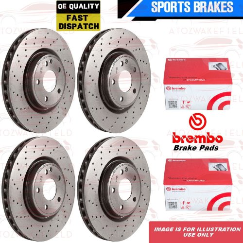 FOR BMW 5 SERIES F10 F11 FRONT REAR DRILLED BRAKE DISCS BREMBO PADS WIRE SENSORS