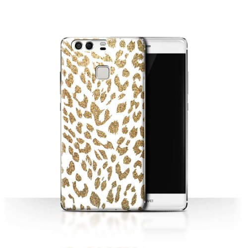 (Gold Glitter Leopard) Fashion Animal Print Pattern Huawei P9 Phone Case Transparent Clear Ultra Slim Thin Hard Back Cover for Huawei P9