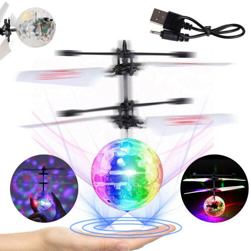 Induction LED Flying Ball Toy Flight Aircraft RGB Floating Ball USB Rechargeable