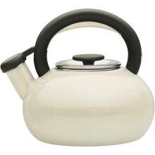 Prestige 46246 Whistling Porcelain Enamel 1.4L Stove Top Kettle - Almond