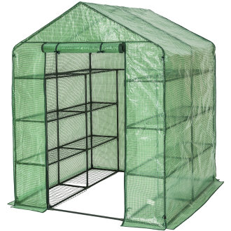 Greenhouse with tarpaulin and shelving - green