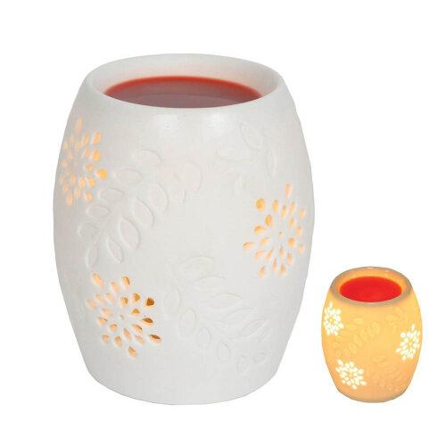 12.5cm Electric White Ceramic Oriental Floral Wax Melts Burner