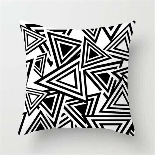(Geometric R) Black White Square Geometric Cushion Covers Pillow Cases Sofa Waist Throw Decor