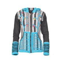 Ladies stonewashed rib and gherry cotton cardigan with crochet razor cut design.